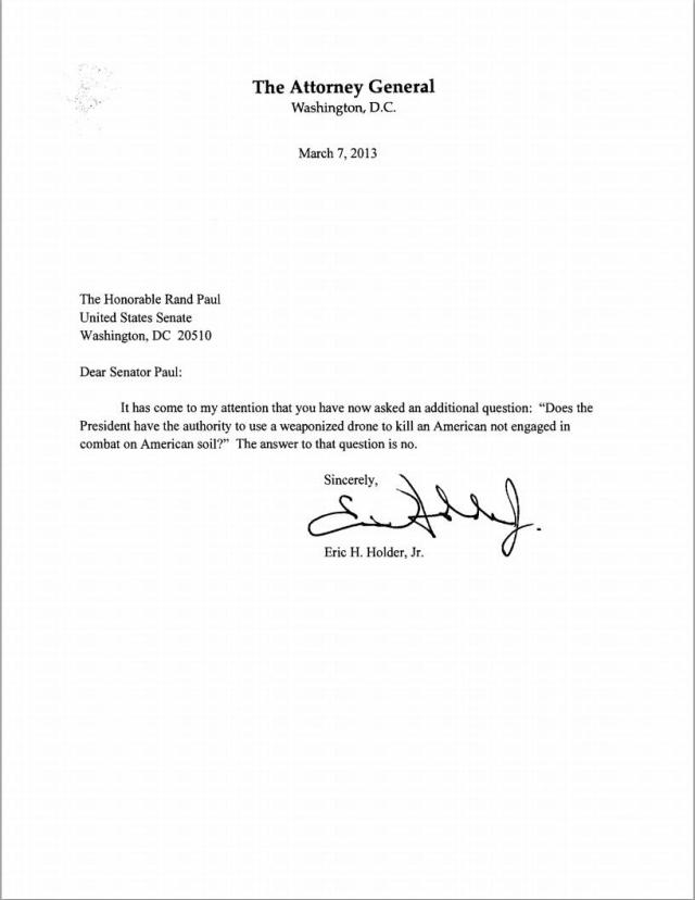 Attorney General to Rand Paul answer