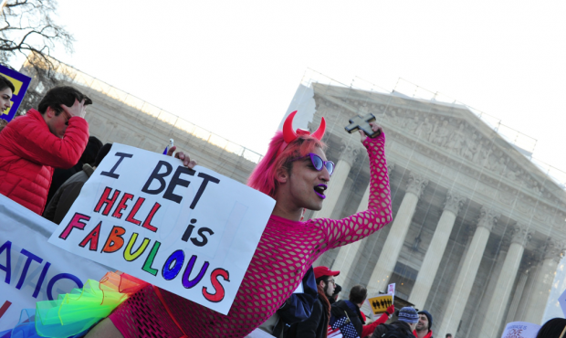 A pro Gay marriage protester called 'Queen' dances in front of the US Supreme Court on March 26, 2013 in Washington, DC. (Photo: AFP/Getty Images)