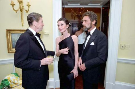 President Reagan, Audrey Hepburn and Robert Wolders at a private dinner at the White House.