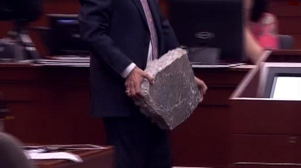 The actual block of cement Trayvon Martin used as a weapon against George Zimmerman