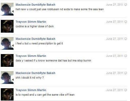 trayvon martin drug use facebook