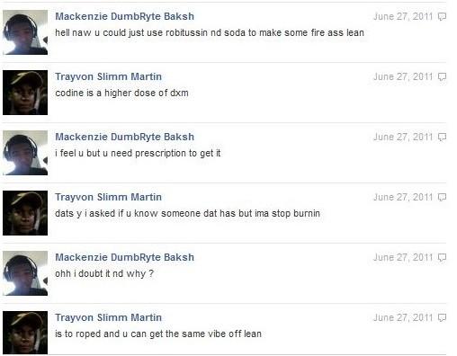trayvon martin drug use facebook