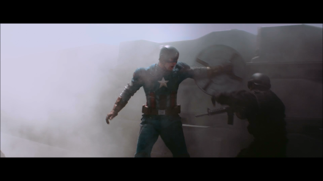 Cap in 40s uniform taking out SHIELD troops
