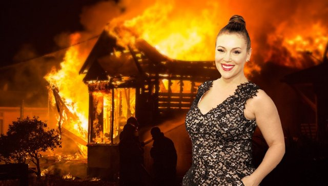 alyssa milano buirning her home to the ground