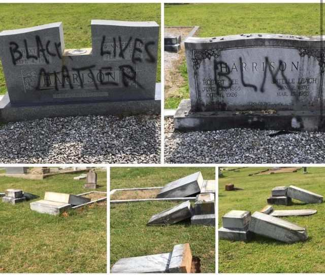 BLM trashes a cemetary june 2020