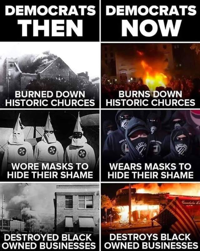 Democrats then democrats now burning down black neighborhoods