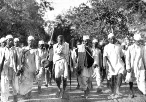 Mahatma Gandhi leading protest