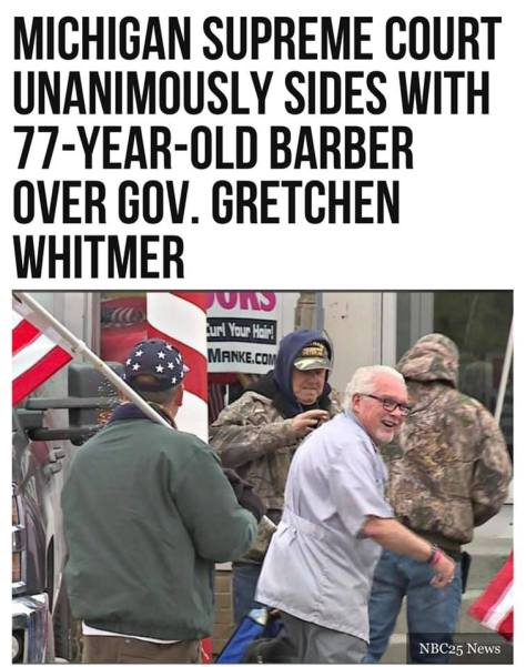 Michigan Supreme Court sides with barber over Gov Whitmer
