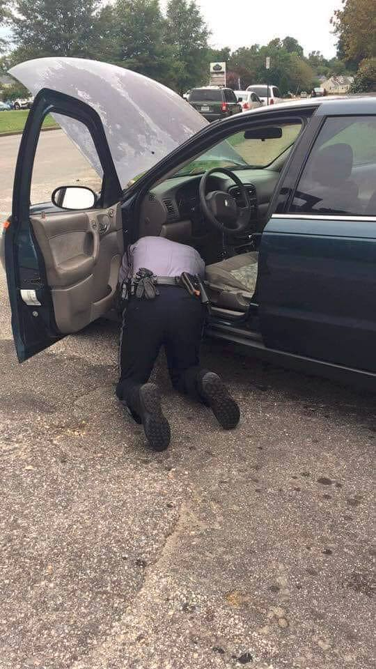 cop fixing brake light switch
