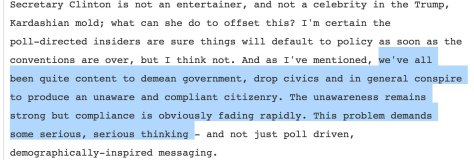 wikileaks hillary campaign email ignorant masses demographic messaging